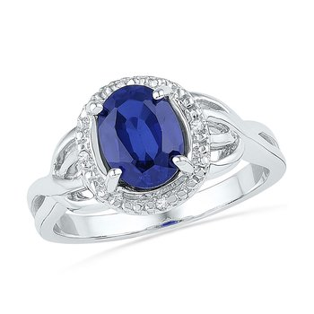 Sterling Silver Womens Oval Lab-Created Blue Sapphire Solitaire Ring 1-5/8 Cttw