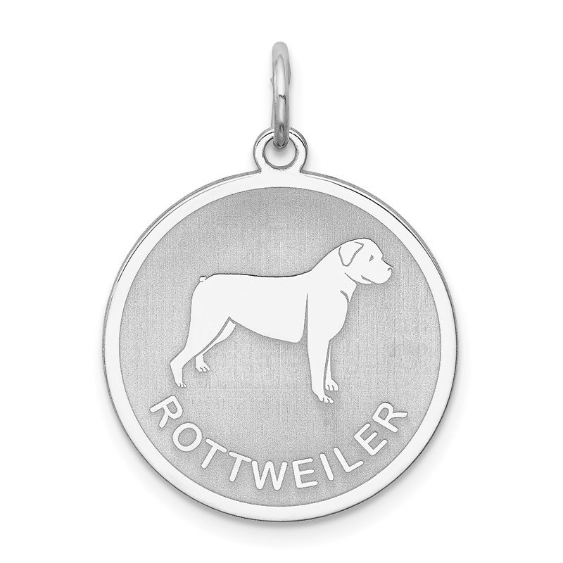 Quality Gold Sterling Silver Rhodium-plated Rottweiler Disc Charm