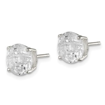 Sterling Silver 8mm Round Basket Set Laser-cut CZ Stud Earrings