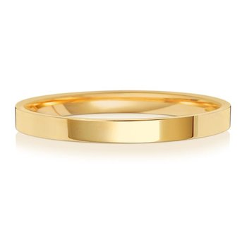 9Ct Yellow Gold 2mm Flat Court Wedding Ring
