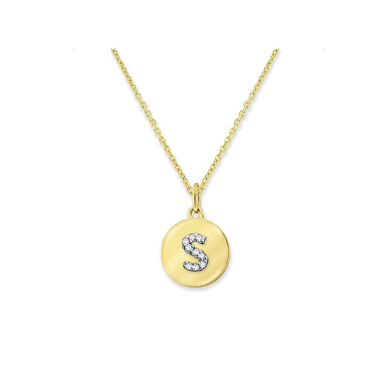"KC Designs Diamond Mini Disc Initial ""S"" Necklace in 14k Yellow Gold with 9 Diamonds weighing .03ct tw."