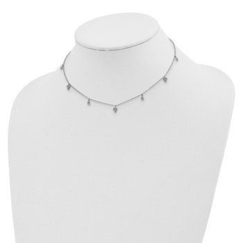 Sterling Silver Rhodium-plated CZ 12.5in w/2in ext Choker Necklace