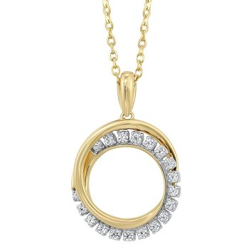 Diamond Double Eternity Circle Pendant Necklace in 14k Yellow Gold (1/10 ctw)