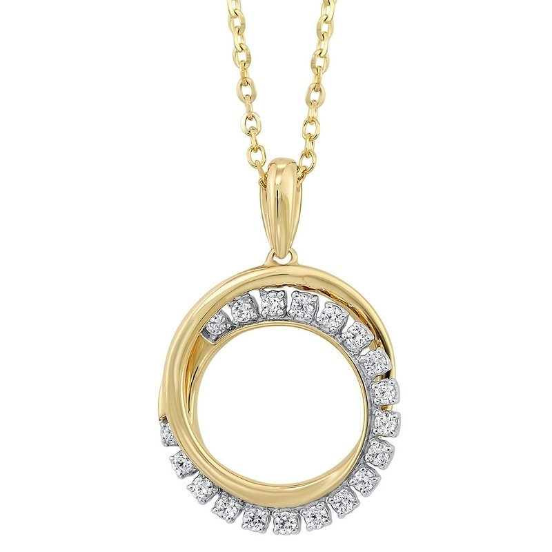 Gems One Diamond Double Eternity Circle Pendant Necklace in 14k Yellow Gold (1/10 ctw)