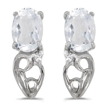 10k White Gold Oval White Topaz And Diamond Earrings