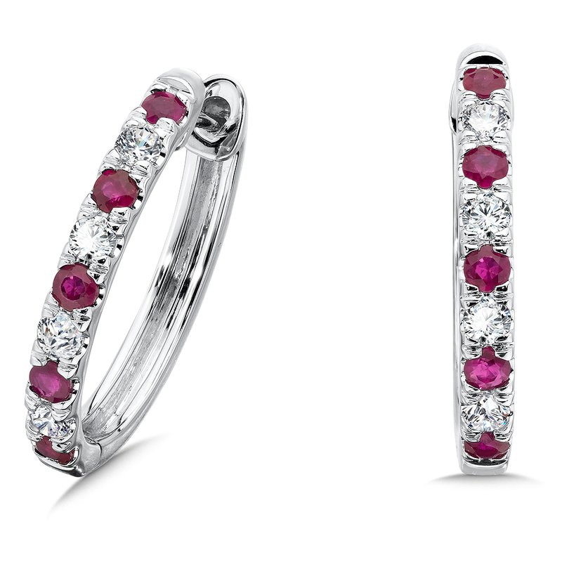 Diamond & Ruby Hoops in 14k White Gold (1/2 ct. tw.)