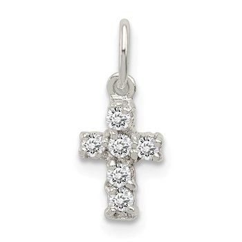 Sterling Silver CZ Cross Charm