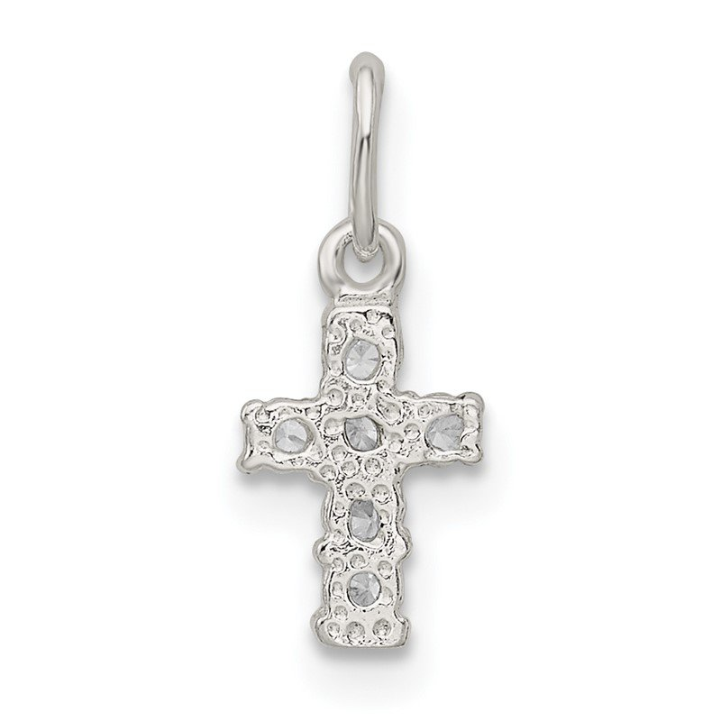 Quality Gold Sterling Silver CZ Cross Charm