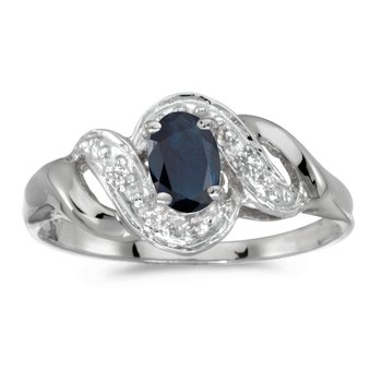 10k White Gold Oval Sapphire And Diamond Swirl Ring