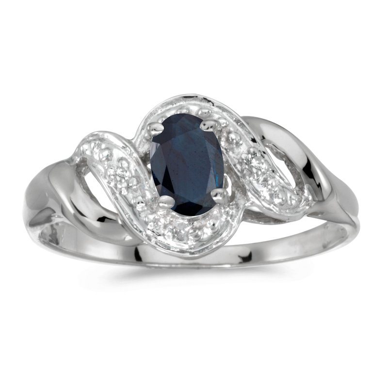Color Merchants 10k White Gold Oval Sapphire And Diamond Swirl Ring