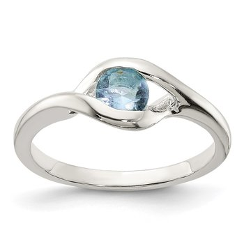 Sterling Silver Blue Glass Ring