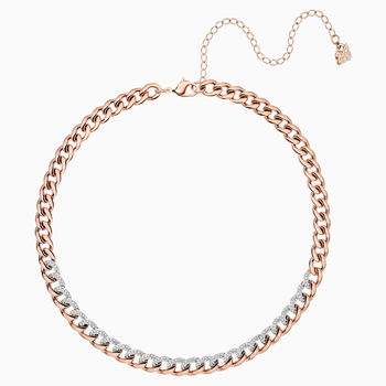 Lane Necklace, White, Rose-gold tone plated