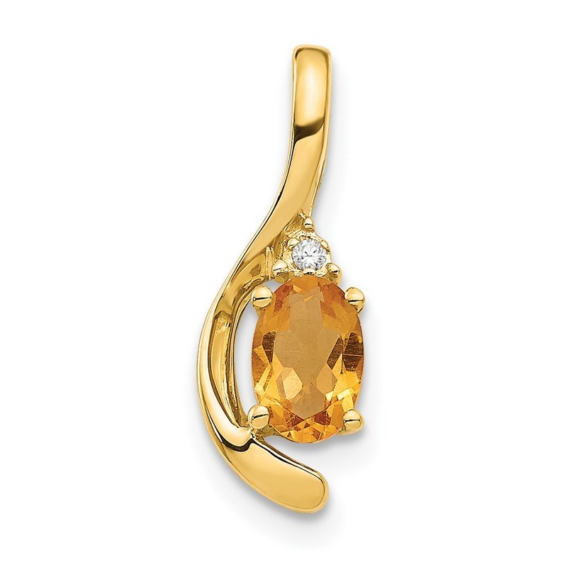 Quality Gold 14k Citrine and Diamond Pendant