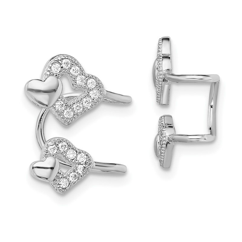 Quality Gold Sterling Silver Rhodium-plated CZ Double Heart Left Cuff Earring