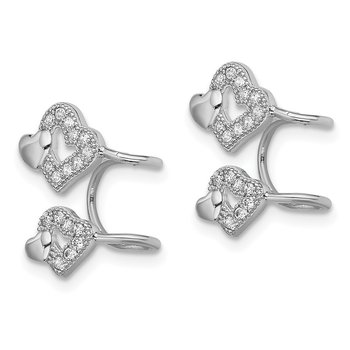 Sterling Silver Rhodium-plated CZ Double Heart Left Cuff Earring