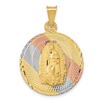 14K w/Rhodium Polished D/C Lady Of Guadalupe Circle Pendant