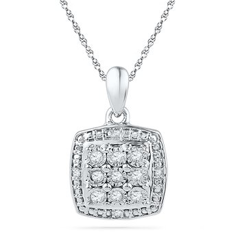 Sterling Silver with Diamond Square Fashion Pendant