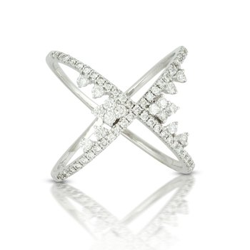 "18KW Diamond ""X"" Ring"