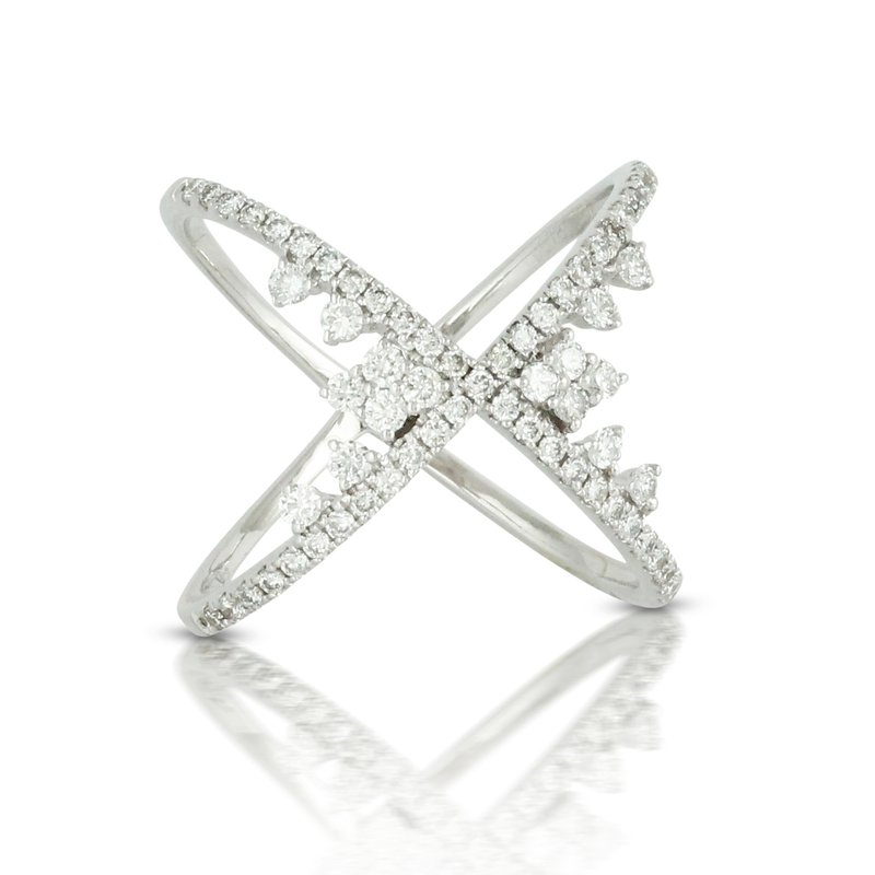 "Doves 18KW Diamond ""X"" Ring"