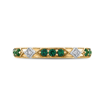 18K Two-Tone Gold Round Diamond and Green Tsavorite Wedding Band