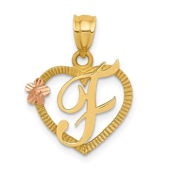 14k Two-Tone Heart Letter F Initial Pendant