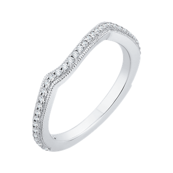 Round Diamond Wedding Band In 18K White Gold