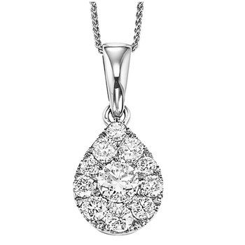 14K Diamond Pendant 1/4 ctw Pear Shape