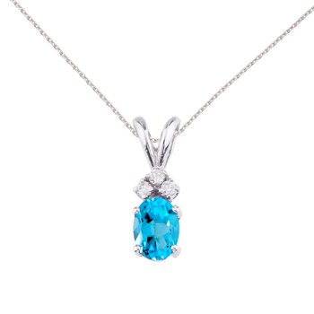 14K White Gold Oval Blue Topaz and Diamond