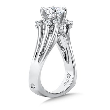 Modernistic Criss Cross Diamond Engagement Ring in 14K White Gold with Platinum Head (1ct. tw.)