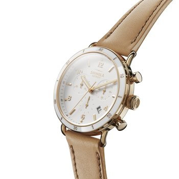 The Canfield Sport 40mm White Dial with Natural Leather Strap Womens Watch