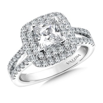 Cushion shape double halo mounting  .61 ct. tw., 1 ct. Princess cut center.