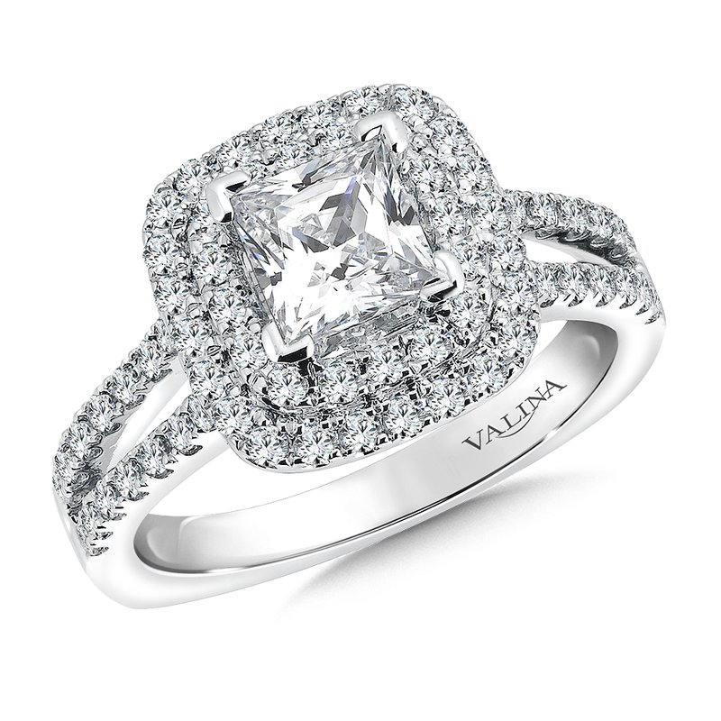 Valina Cushion shape double halo mounting  .61 ct. tw., 1 ct. Princess cut center.