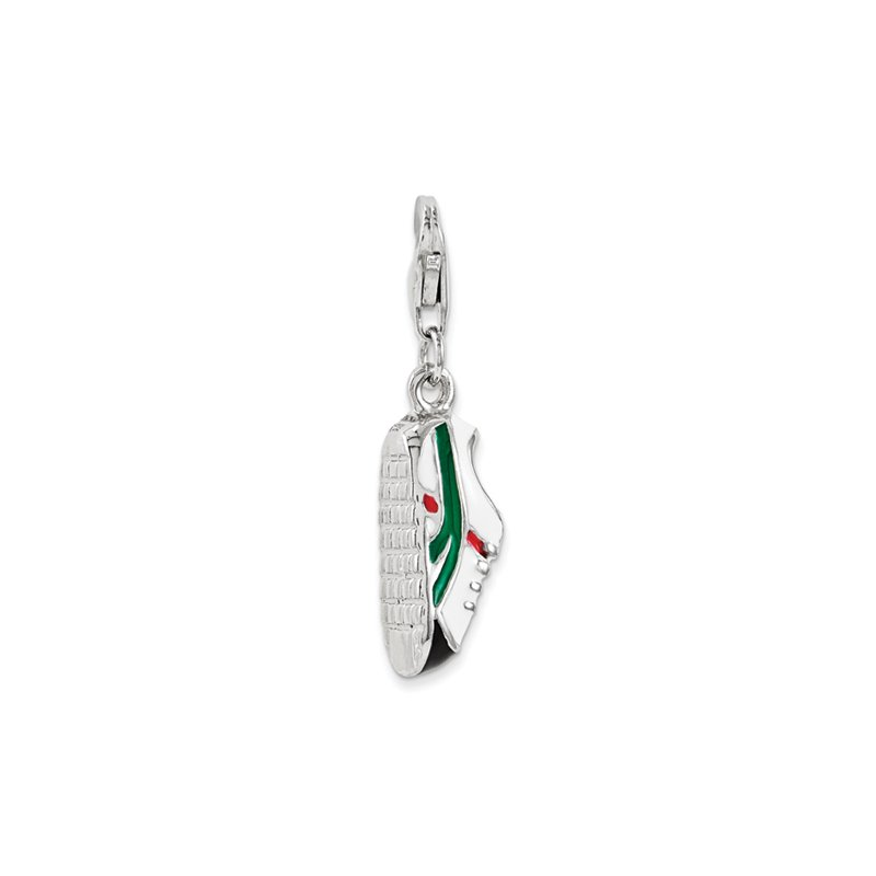 Sterling Silver RH w/Loster Clasp Enameled Soccer Shoe Charm