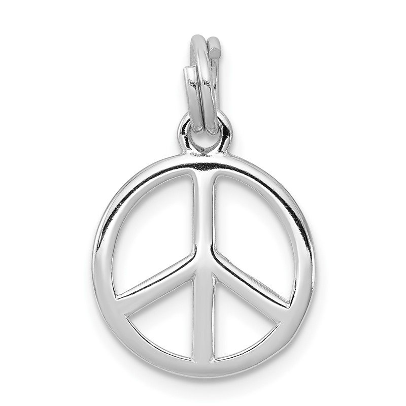 Quality Gold Sterling Silver Rhodium-platedPolished Peace Sign Charm