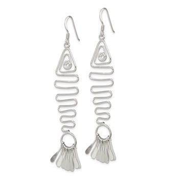 Sterling Silver Fancy Geometric Fish Earrings