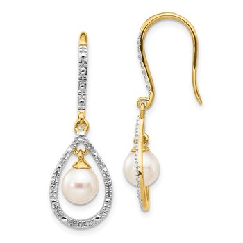14k 6-7mm White Round FWC Pearl .02ct. Diamond Dangle Earrings
