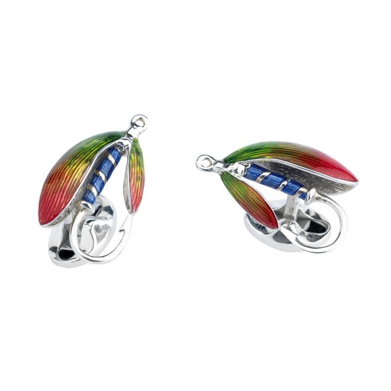 Deakin & Francis Sterling Silver Fly Fishing Cufflinks