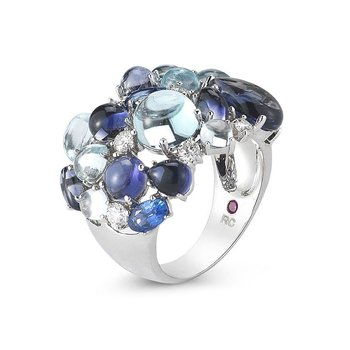 Ring With Diamond, Lolite, Topaz And Sapphires &Ndash; 6.5