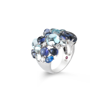Ring With Diamond, Lolite, Topaz And Sapphires