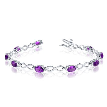 10K White Gold Oval Amethyst and Diamond Bracelet
