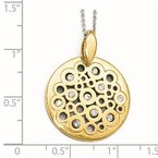 Leslie's Leslie's Sterling Silver Gold-tone Polished Preciosa Crystal Pendant