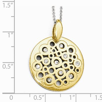 Leslie's Sterling Silver Gold-tone Polished Preciosa Crystal Pendant