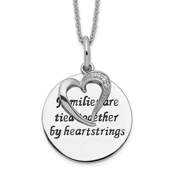 Sterling Silver Antiqued CZ Families Are Tied Together 18in Heart Necklace
