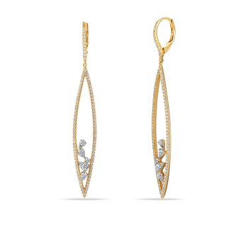 14K drop Earrings 200 Diamonds 1.11C
