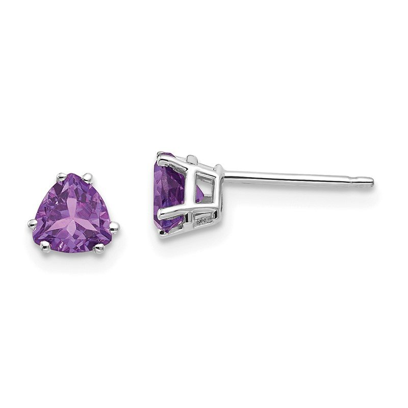 J.F. Kruse Signature Collection 14k White Gold 5mm Trillion Amethyst Earrings