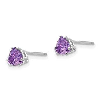 14k White Gold 5mm Trillion Amethyst Earrings