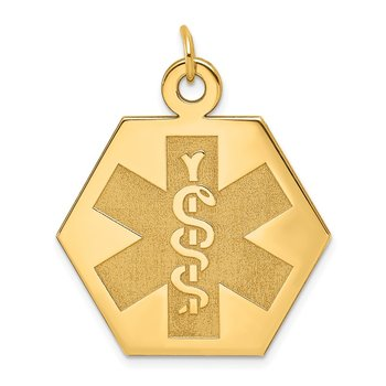 14k Medical Jewelry Unenameled Pendant