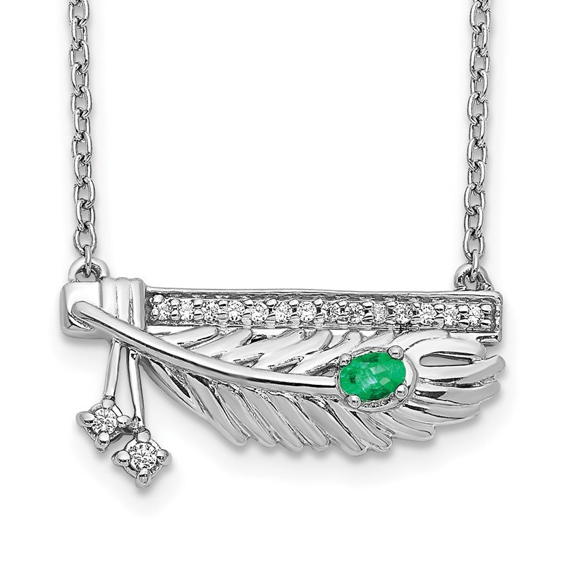 Quality Gold 14k White Gold Diamond Bar w/Emerald Feather 18 inch Necklace