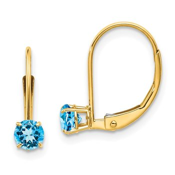 14k 4mm Round December/Blue Topaz Leverback Earrings