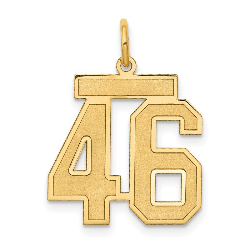 Quality Gold 14k Medium Satin Number 46 Charm